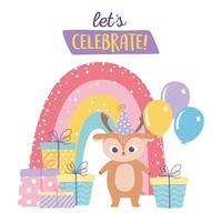 Feliz cumpleaños, lindo ciervo con muchos regalos, globos y dibujos animados de decoración de celebración de arco iris