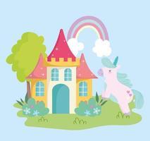 little unicorn castle rainbow fantasy magic animal cartoon