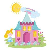 little fairy princess with castle crown flowers rainbow tale cartoon vector