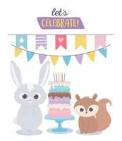 happy birthday, cute rabbit and squirrel celebration decoration cartoon vector