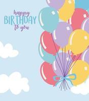 happy birthday, bunch balloons celebration decoration cartoon vector