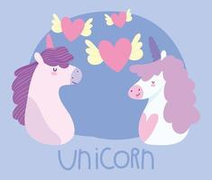 little unicorns with winged hearts fantasy magic animal cartoon
