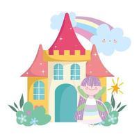 pequeña princesa de hadas con castillo de varita mágica y dibujos animados de cuento de arcoíris