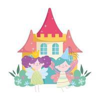 little fairies princess with wings crown castle tale cartoon vector