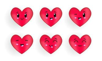 Heart cartoon character with kawaii face collection vector