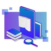 Isometric e-book on mobile phone vector
