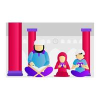 Muslim father, son, and daughter reading the Quran at the mosque vector