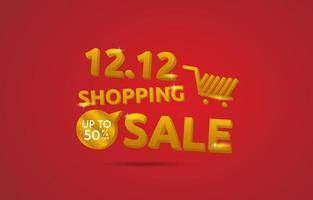Shopping sale banner with 3D typography