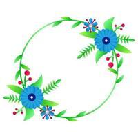 Modern circle frame floral template design for print