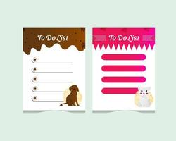 Cute cat and dog character to do list template