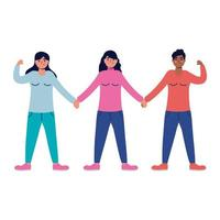 group of interracial young women characters vector