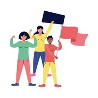 interracial women protesting with flags and placard vector