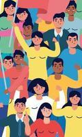 gente fuerte interracial protestando personajes