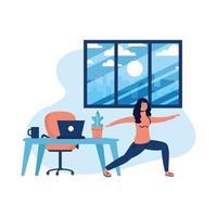 Mujer haciendo yoga y laptop en diseño vectorial de escritorio