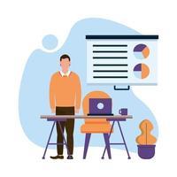Hombre con laptop en escritorio y diseño vectorial infográfico