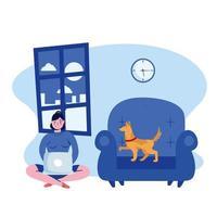 mujer con laptop y perro en silla diseño vectorial