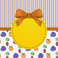 diseño de plantilla de tarjeta de felicitación con patrón de frutas frescas y rayas