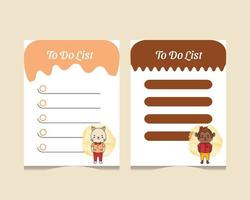 To do list template set with baby animal characters