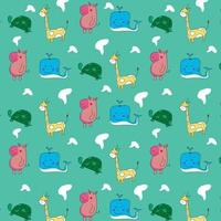 Cute drawing animal pattern design for print design vector