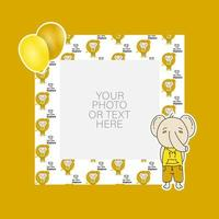 Photo frame with cartoon elephant and balloons design