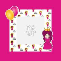 Photo frame with cartoon princess and balloons design
