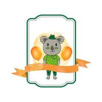 Baby animal koala label with ribbon