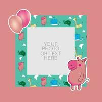 marco de fotos con hipopótamo de dibujos animados y diseño de globos