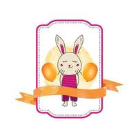 Baby animal bunny label with ribbon