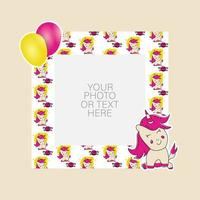 Photo frame with cartoon unicorn and balloons design