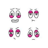 Set of funny cartoon faces with different emotions vector