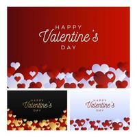 conjunto de banner de amor de san valentín vector