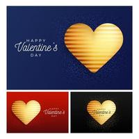 conjunto de banner de corazón brillante