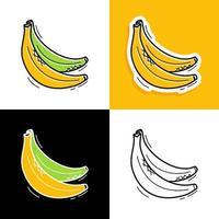 conjunto dibujado a mano de plátano vector
