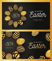 Easter egg horizontal banner set