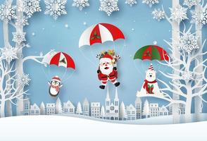 Origami paper art of Santa Claus and Christmas characters parachute jump in the village, Merry Christmas and Happy New Year