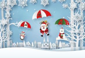 arte de papel de origami de santa claus y personajes navideños salto en paracaídas en el pueblo, feliz navidad y próspero año nuevo
