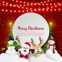 Paper art Santa Claus and friends with copy space, Merry Christmas and Happy New Year
