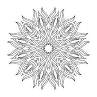 Hand draw circular mandala, sun mandala.  Decorative ornament in ethnic oriental style. Coloring book page.
