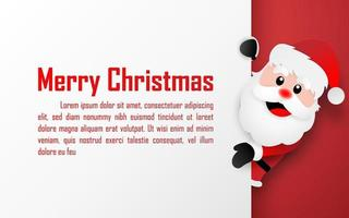 Origami paper art style postcard of Santa Claus with copy space, Merry Christmas and Happy New Year