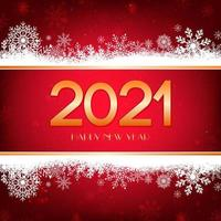 Red Happy New Year background with white snowflakes border and gold typography.