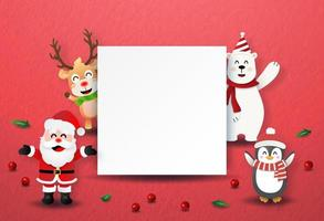 Origami paper art style Santa Claus and Christmas characters with blank label