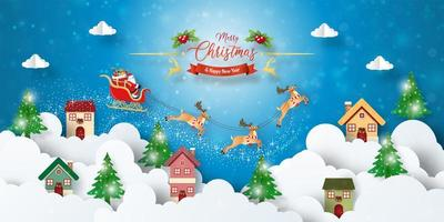 Christmas postcard banner of Santa Claus flying over town