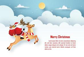 Origami Paper art Christmas postcard Santa Claus and reindeer on the sky with copy space, Merry Christmas and Happy New Year