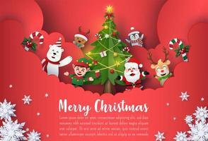 Origami Paper art Christmas postcard banner of Santa Claus and cute cartoon characters