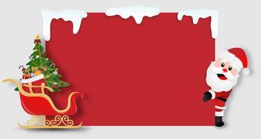 santa claus sosteniendo una tarjeta de navidad en blanco