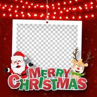 Christmas photo frame with Santa Claus and reindeer