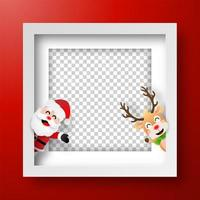 Christmas frame with Santa Claus and reindeer