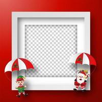 Christmas frame with Santa Claus and Elf