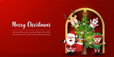 Christmas postcard banner of Santa Claus and friends with Christmas tree