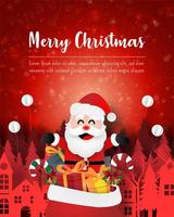 Merry Christmas and Happy New Year, Christmas postcard of Santa Claus with gift bag in town